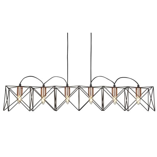 Anthena 6 Light Black Frame Pendant With Copper Detail 8416-6Bk
